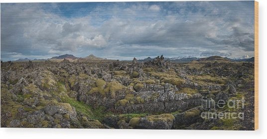 Icelands Mossy Volcanic Rock Wood Print