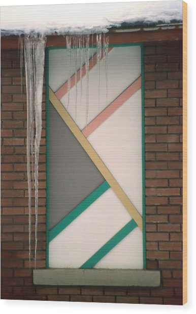 Icicles 3 - In Front Of Architectural Design Off Red Brick Bldg. Wood Print by Steve Ohlsen