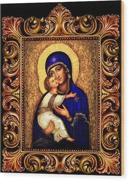 Icon Madonna Altar Wood Print by Ananda Vdovic