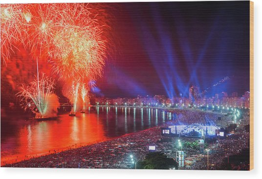 Iconic And Breath-taking Fireworks Display On Copacabana Beach,  Wood Print