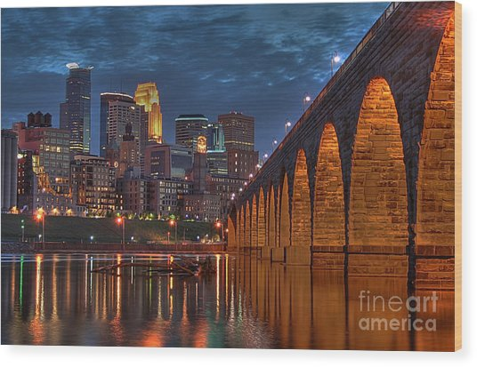 Iconic Minneapolis Stone Arch Bridge Wood Print