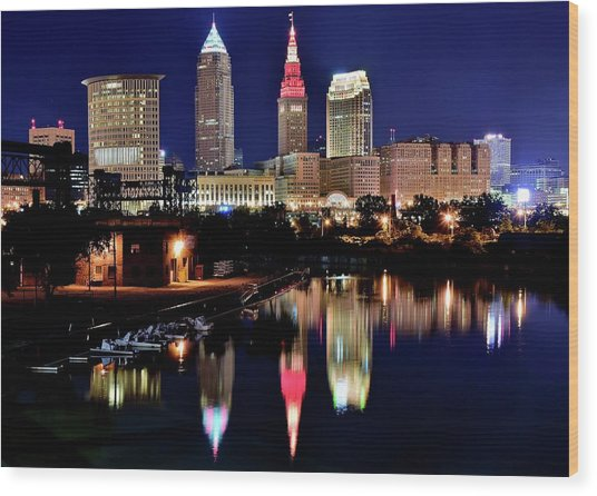 Iconic Night View Of Cleveland Wood Print