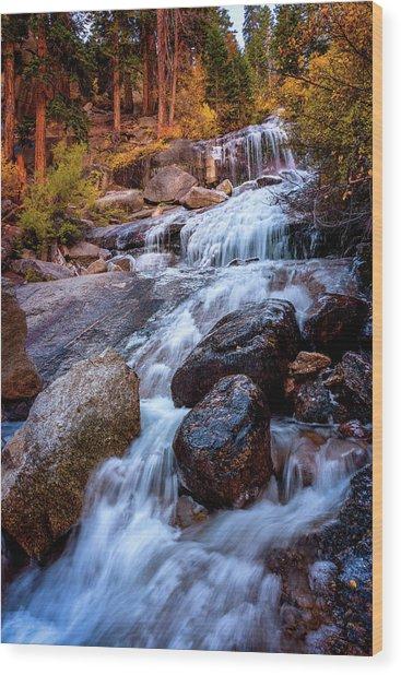 Icy Cascade Waterfalls Wood Print