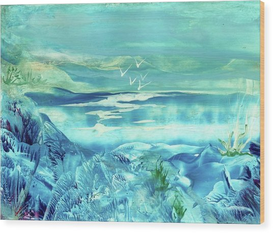 Icy Lake Wood Print by Angelina Whittaker Cook