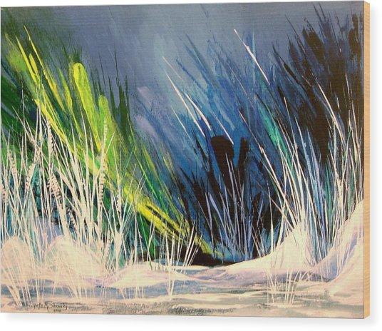 Icy Pond Wood Print by Yvette Sikorsky