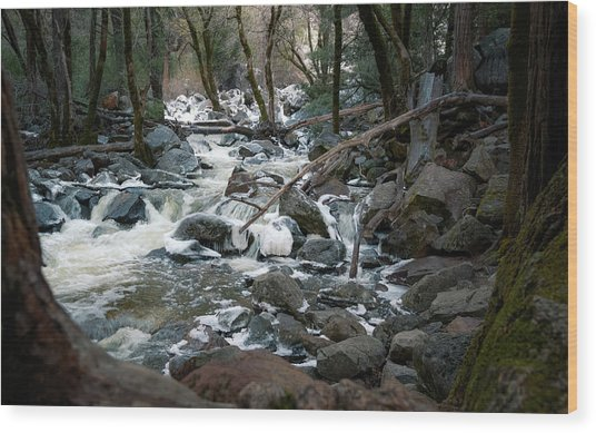 Icy River Below Bridalveil Yosemite California Wood Print