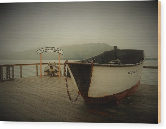 Icy Strait Point Boat Wood Print