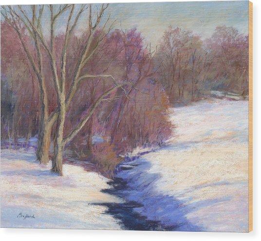 Icy Stream Wood Print