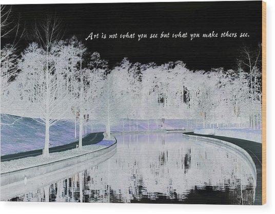 Icy Waterway Wood Print