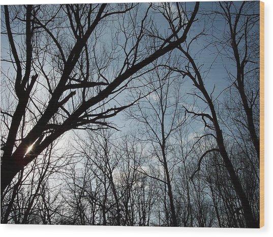 Icy Winter Sky Wood Print