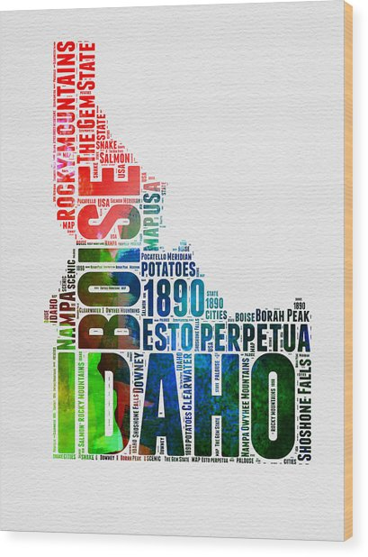 Idaho Watercolor Word Cloud  Wood Print