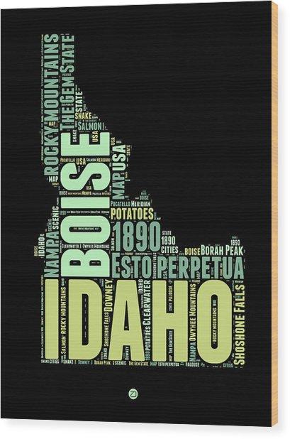 Idaho Word Cloud 1 Wood Print
