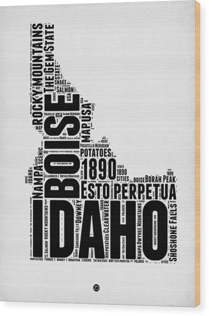 Idaho Word Cloud 2 Wood Print