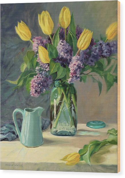 Ideal - Yellow Tulips And Lilacs In A Blue Mason Jar Wood Print