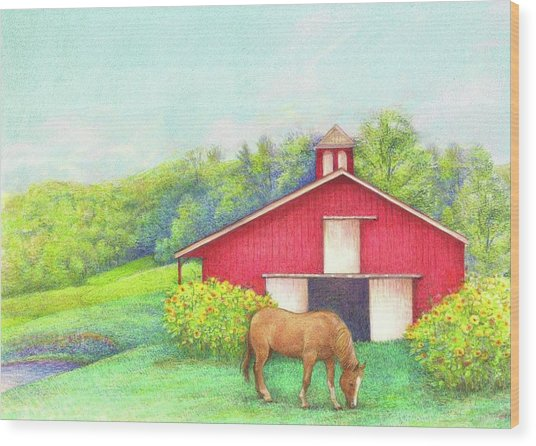 Idyllic Summer Landscape Barn With Horse Wood Print