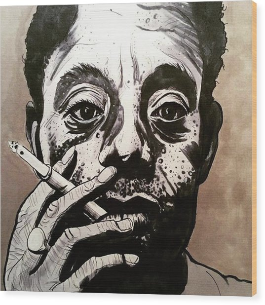 James Baldwin Wood Print by Russell Boyle