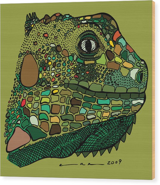 Iguana - Color Wood Print by Karl Addison