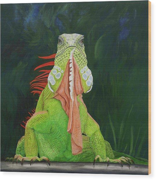 Iguana Dude Wood Print