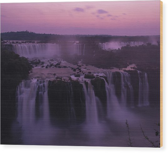 Iguazu Sunset In Violet Wood Print