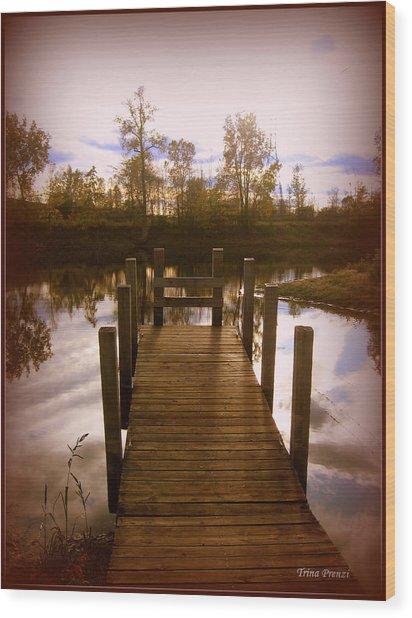 I'll Meet You At The Dock Wood Print by Trina Prenzi