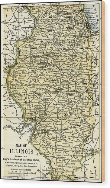Illinois Antique Map 1891 Wood Print