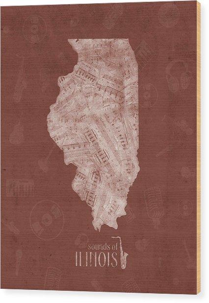 Illinois Map Music Notes 5 Wood Print