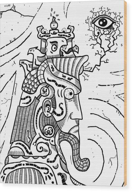 Surrealism Illuminati Black And White Wood Print