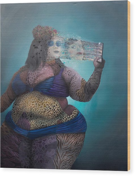 Wood Print featuring the painting Illusion by Obie Platon