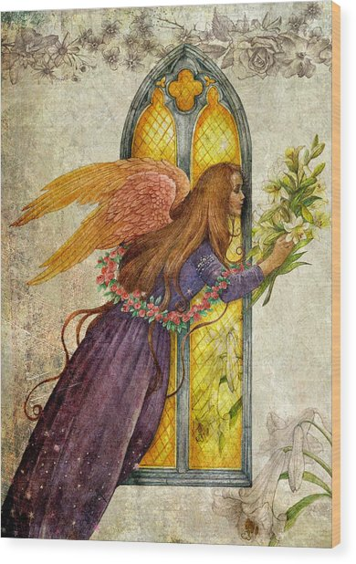 Illustrated Angel And Lily Wood Print