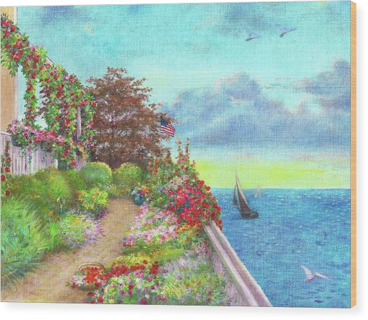 Illustrated Beach Cottage Water's Edge Wood Print