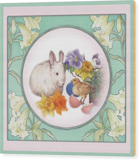 Illustrated Bunny With Easter Floral Wood Print