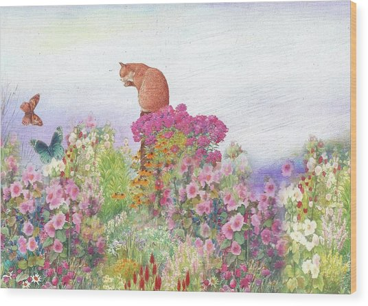 Illustrated Cat In Garden Wood Print