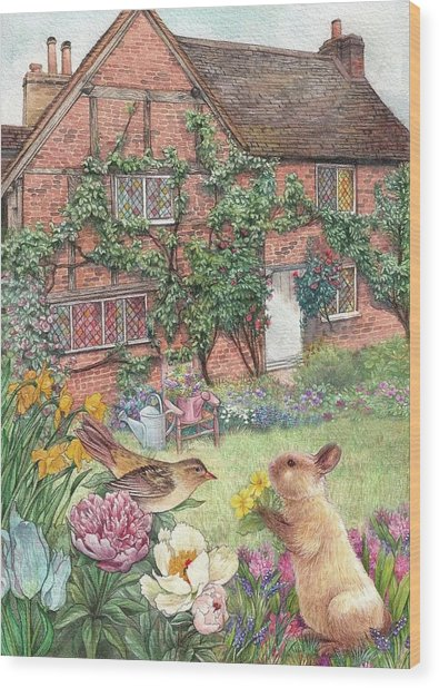 Illustrated English Cottage With Bunny And Bird Wood Print