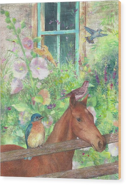 Illustrated Horse And Birds In Garden Wood Print