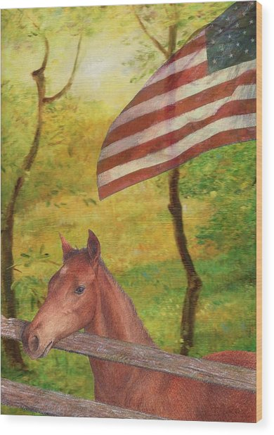 Illustrated Horse In Golden Meadow Wood Print