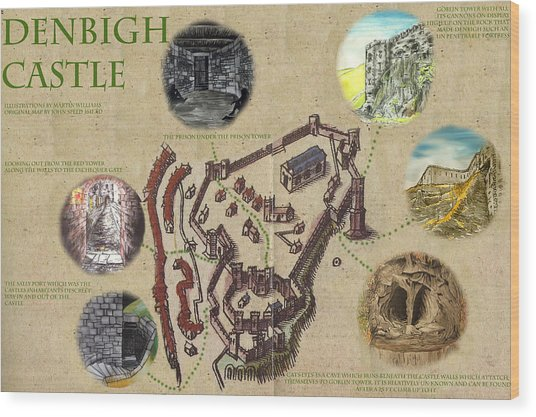Illustrated Map Of Denbigh Castle 1611 Ad Wood Print by Martin Williams