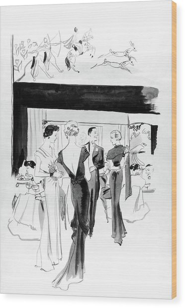 Illustration Of A Man And Women At The Plaza Wood Print by Jean Pages
