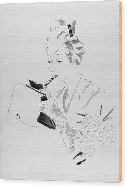 Illustration Of A Woman Applying Lipstick Wood Print