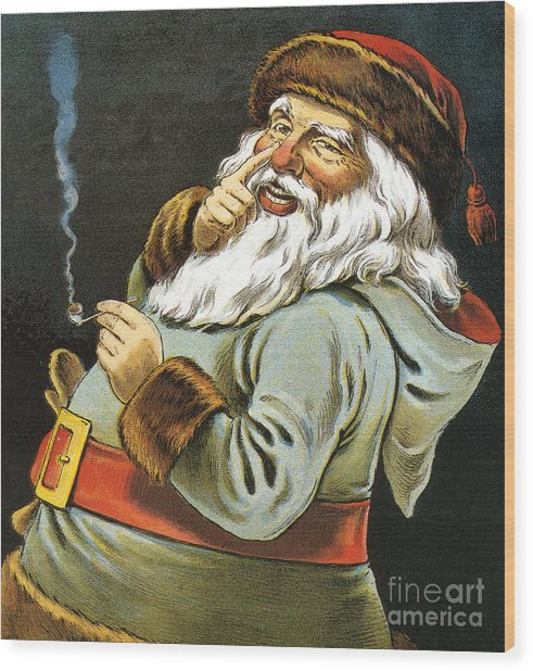 Illustration Of Santa Claus Smoking A Pipe Wood Print