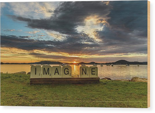 Imagine Sunrise Waterscape Over The Bay Wood Print