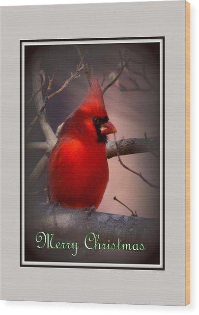 Img_3158-005 - Northern Cardinal Christmas Card Wood Print