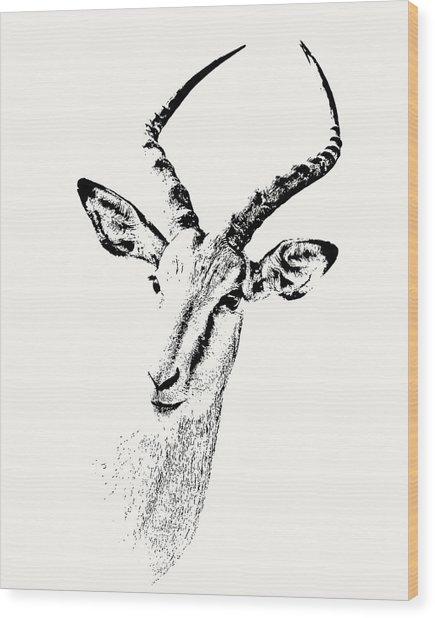 Impala Antelope Portrait Wood Print