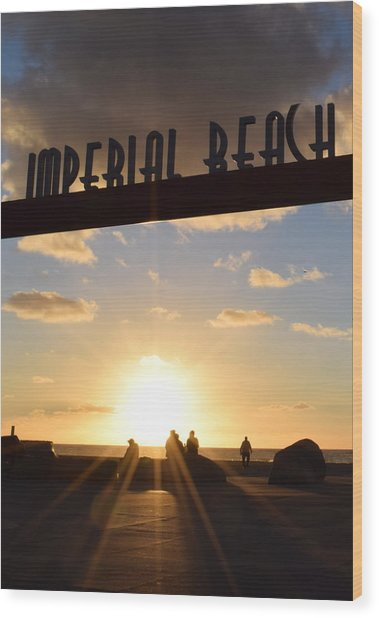 Imperial Beach At Sunset Wood Print