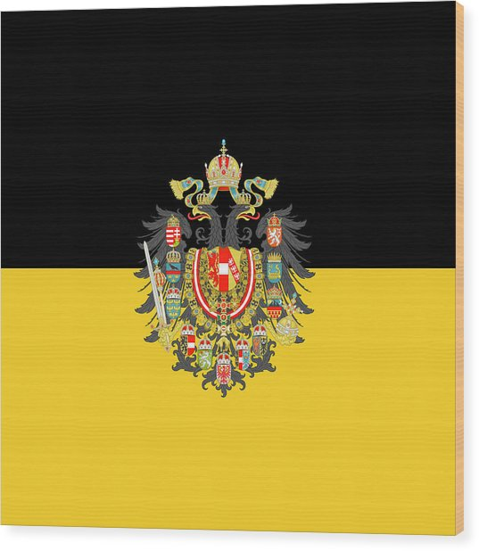 Wood Print featuring the digital art Habsburg Flag With Imperial Coat Of Arms 1 by Helga Novelli