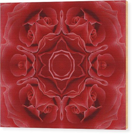 Imperial Red Rose Mandala Wood Print
