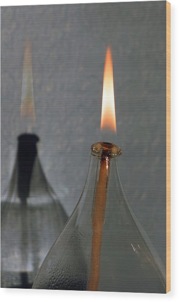 Impossible Shadow Oil Lamp Wood Print