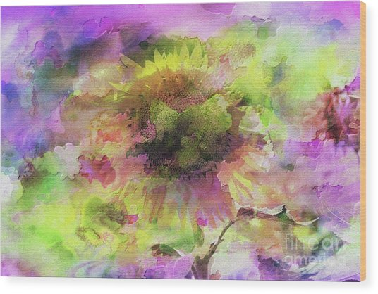 Impression Sunflower Wood Print