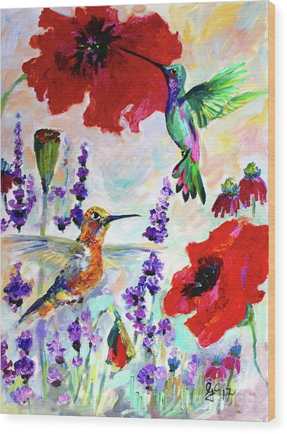 Impressionist Hummingbirds On Red Poppies And Lavender  Wood Print