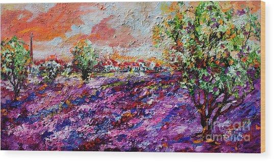 Impressionist Lavender Fields Provence Wood Print
