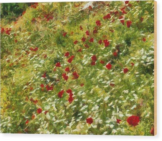 Impressionist Poppies Wood Print